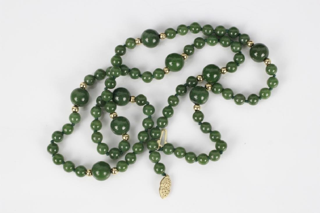 3 Jade or Hardstone Necklaces, All w/ Gold Mounts - 4