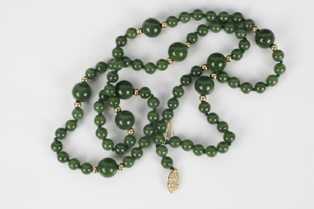 3 Jade or Hardstone Necklaces, All w/ Gold Mounts - 5
