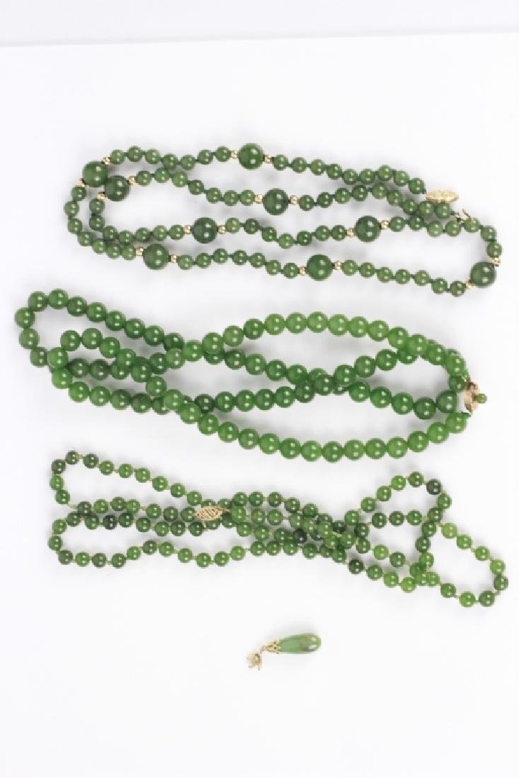 3 Jade or Hardstone Necklaces, All w/ Gold Mounts - 8