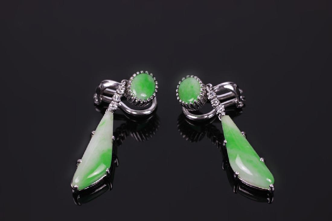 Pair of 18k White Gold, Diamond & Jadeite Earrings