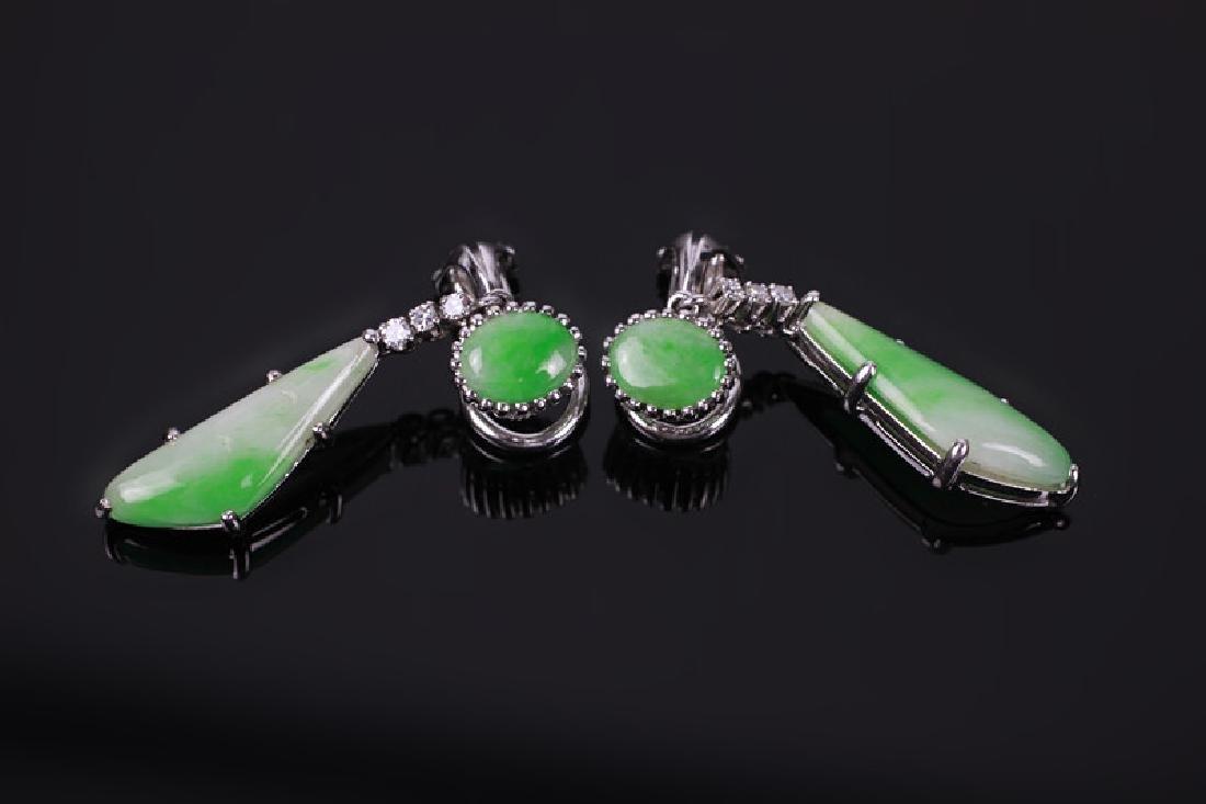 Pair of 18k White Gold, Diamond & Jadeite Earrings - 3