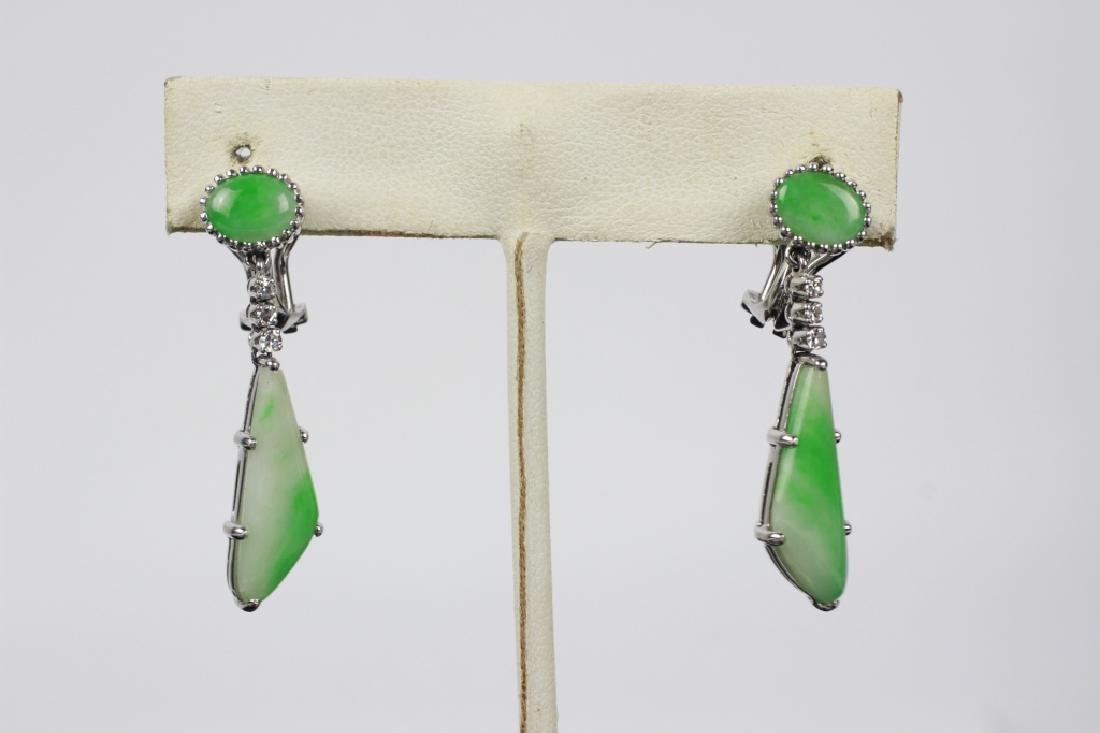 Pair of 18k White Gold, Diamond & Jadeite Earrings - 4
