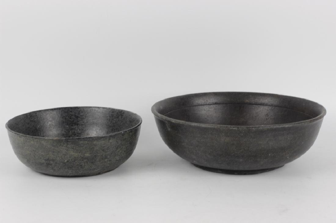 2 Japanese Carved Stoned Bowls