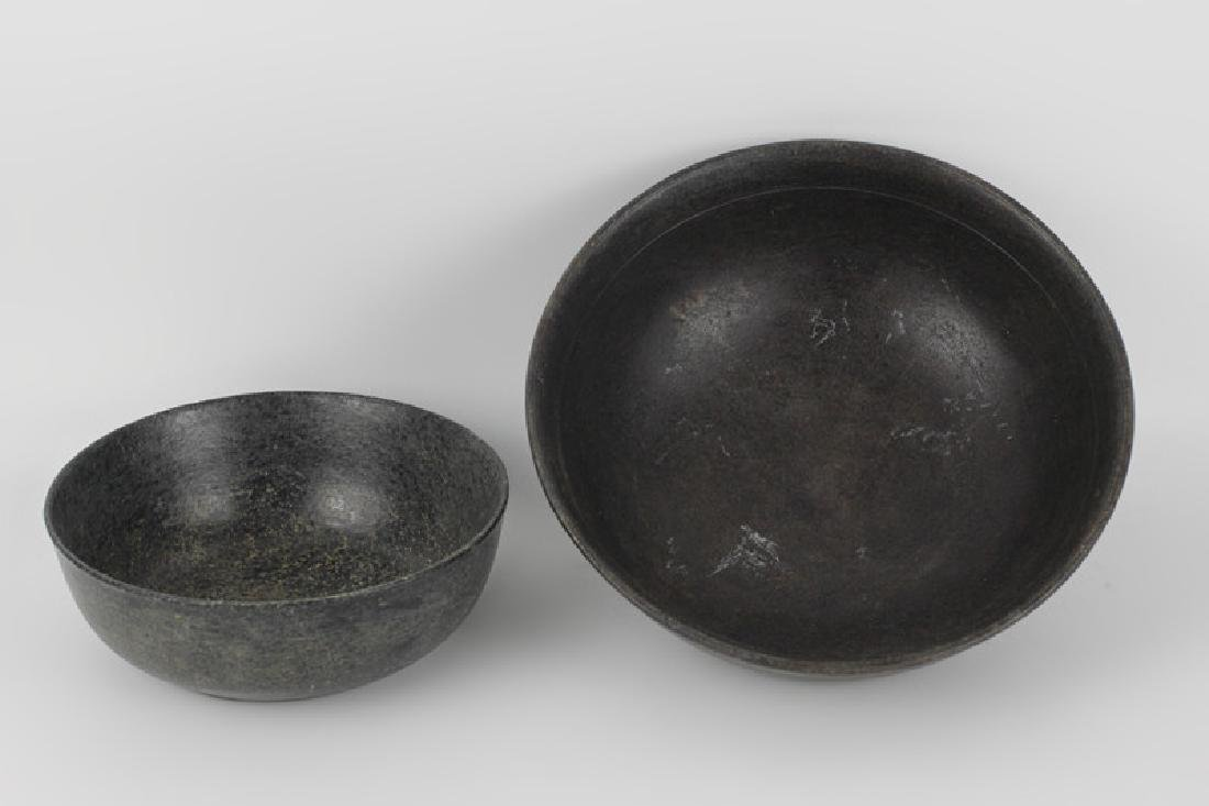 2 Japanese Carved Stoned Bowls - 6