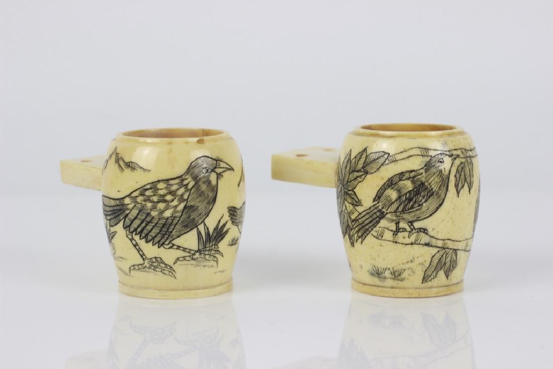 2 19thc Japanese Bone Bird Cage Water or Bird Feed