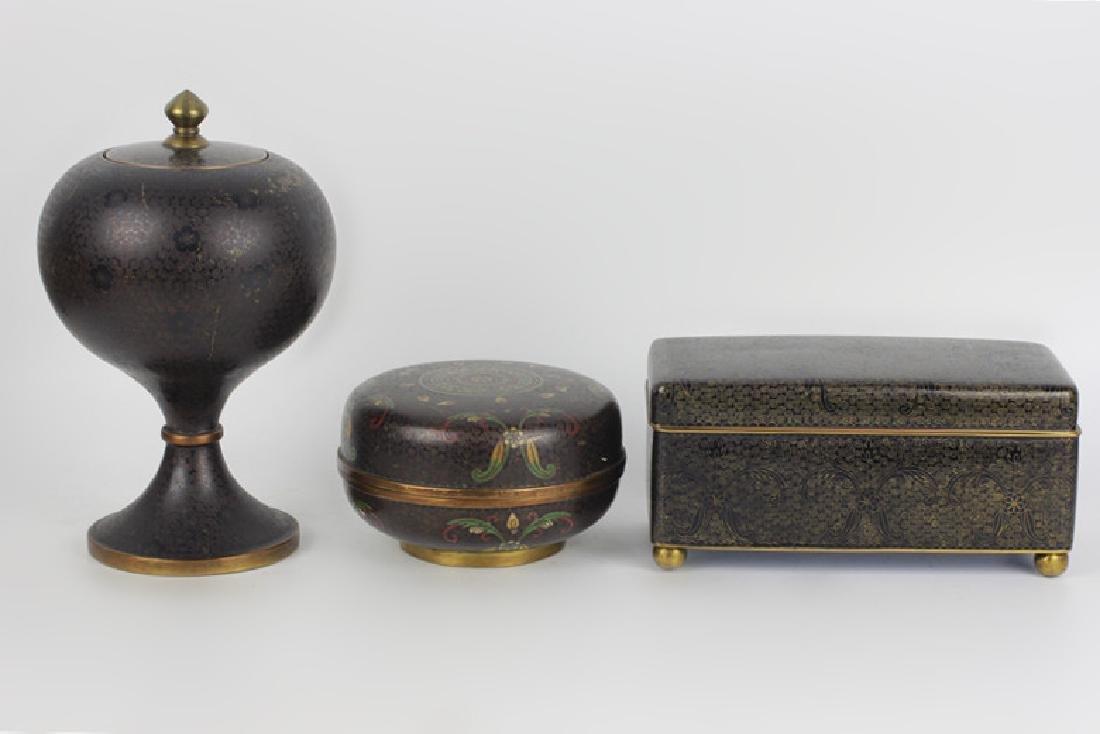3 Chinese Metal Boxes w/ Enamel Linings - 2