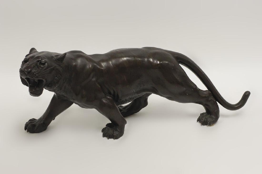 19thc Japanese Bronze Tiger, Signed