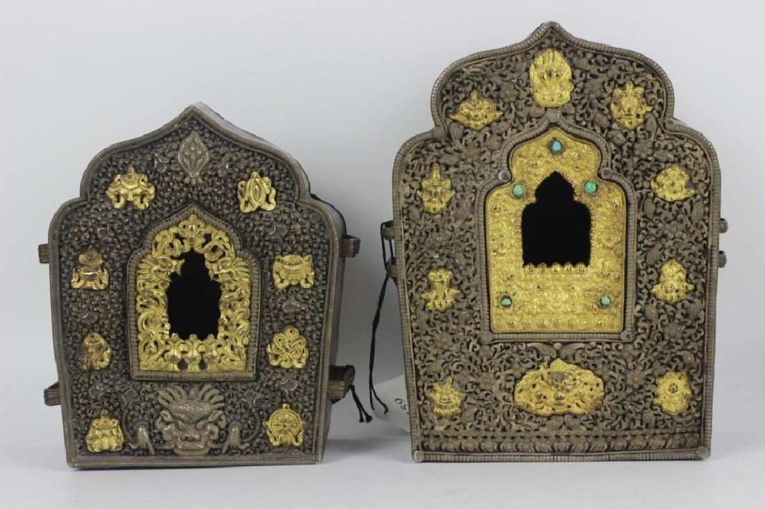 2 Tibetan Rare 19thc Important Gilded Prayer Boxes