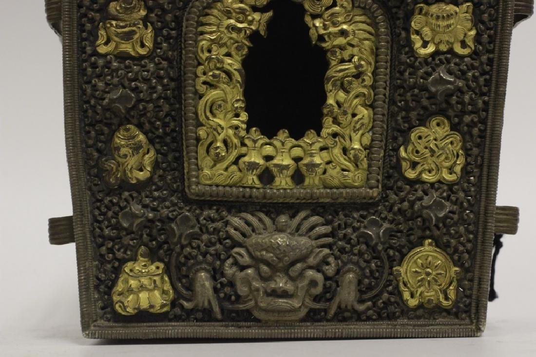 2 Tibetan Rare 19thc Important Gilded Prayer Boxes - 3