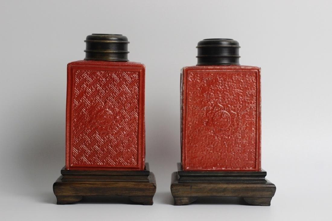Late 19thc Pair of Chinese Porcelain Tea Caddies