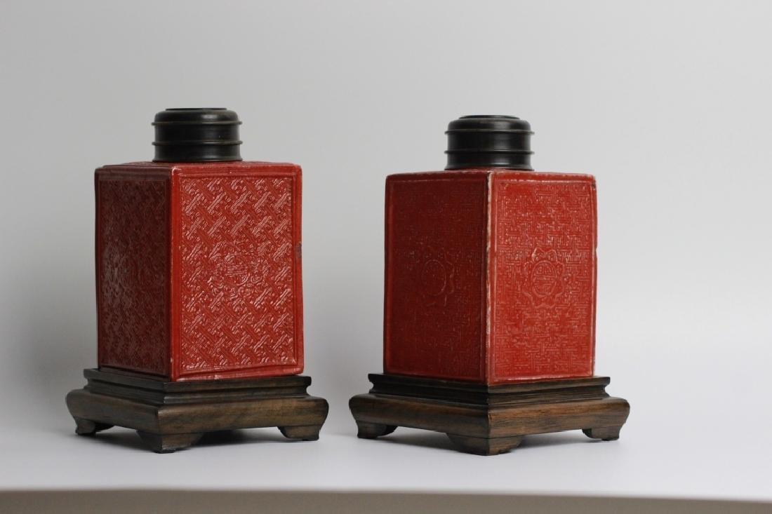 Late 19thc Pair of Chinese Porcelain Tea Caddies - 2