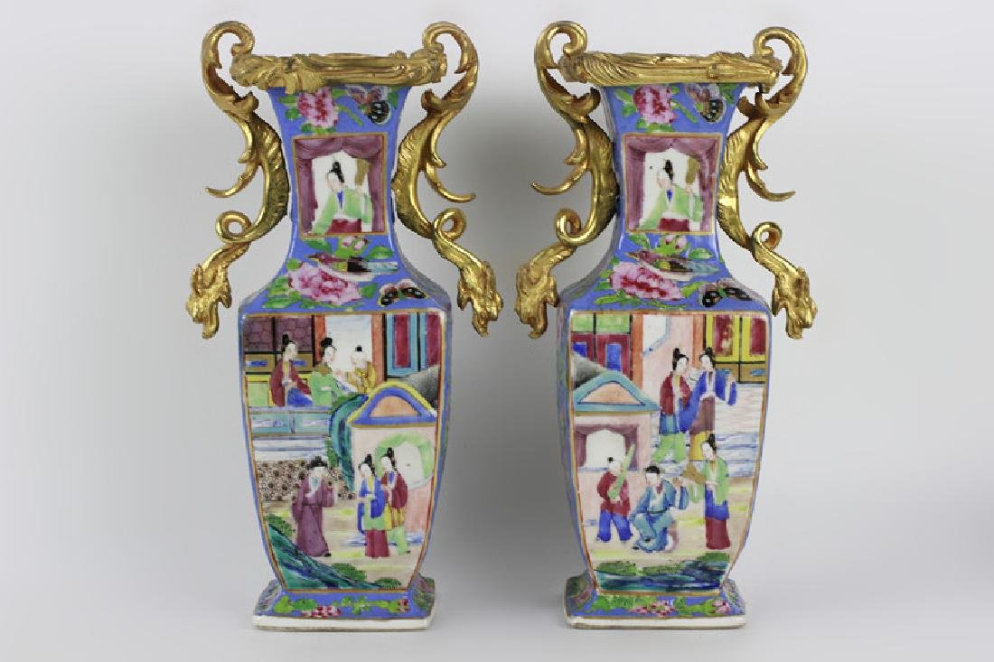Pair of 19thc Chinese Porcelain Vases