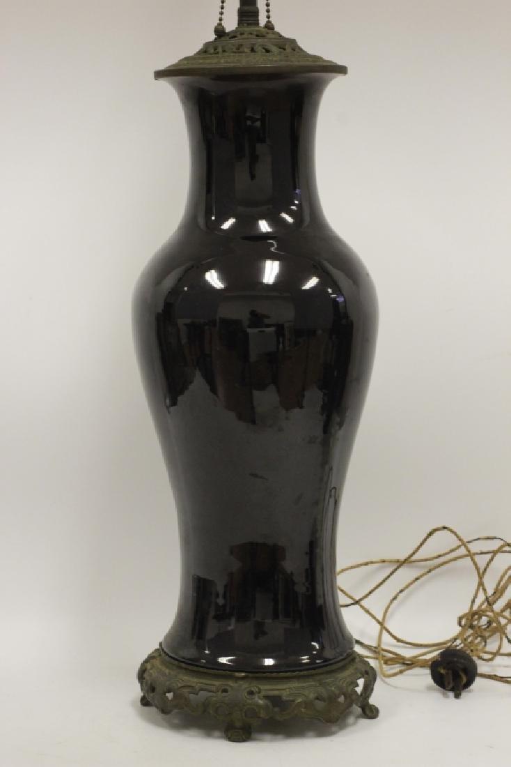 Chinese Black Porcelain Vase Mounted as Lamp - 2