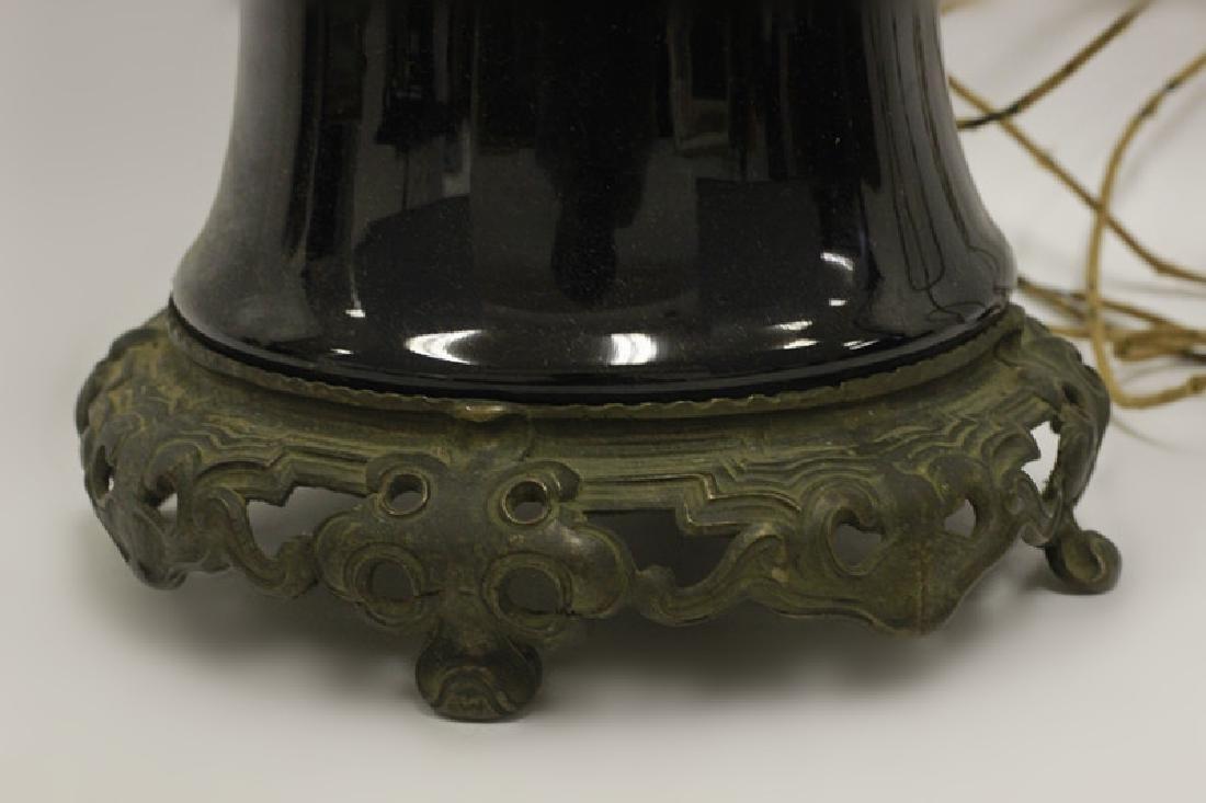 Chinese Black Porcelain Vase Mounted as Lamp - 3