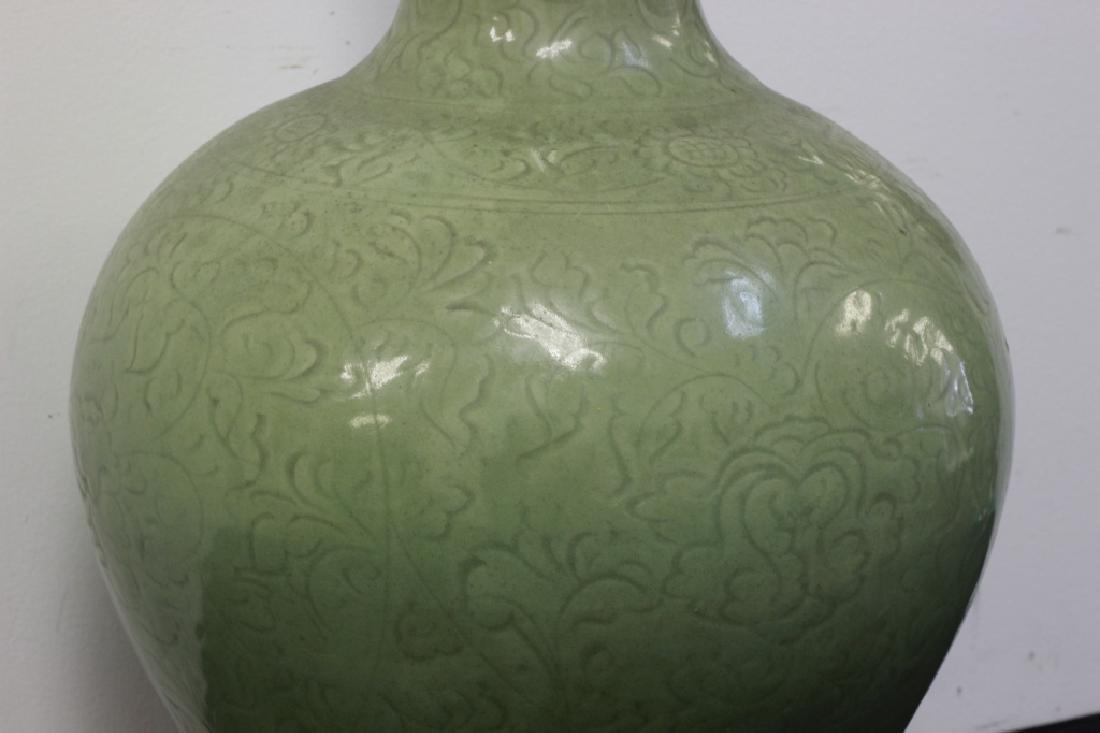 Chinese Celadon Porcelain Vase on Stand - 3