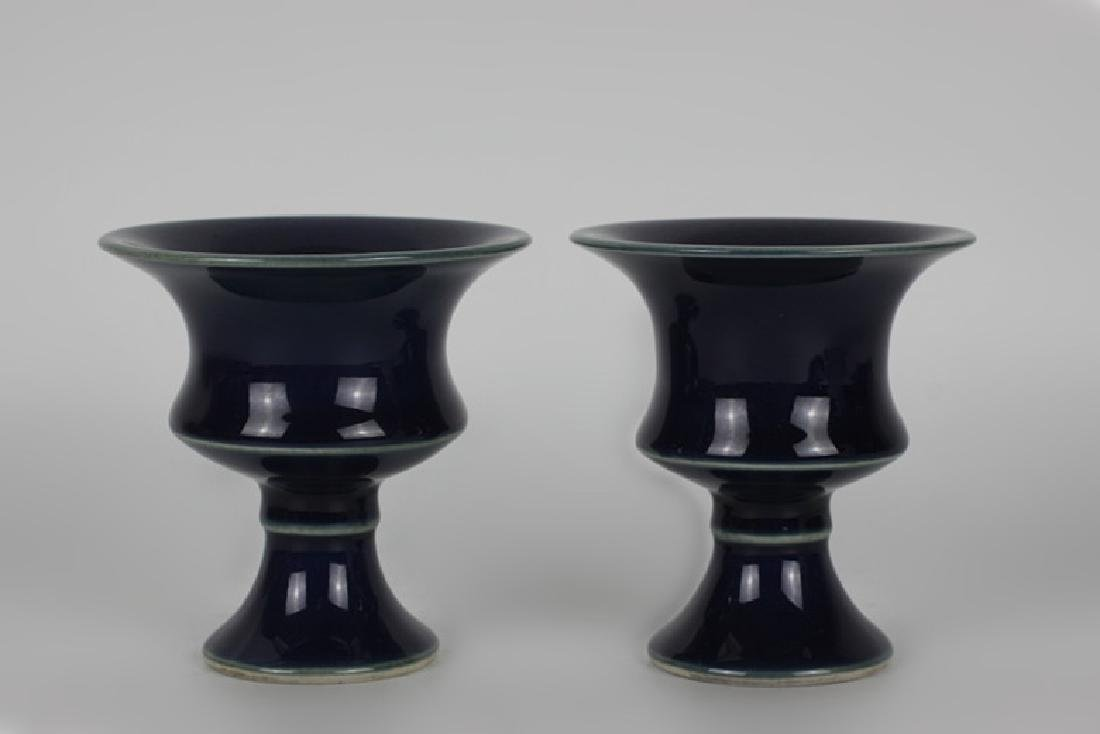 Pair of Chinese Porcelain Cobalt Vases, Signed