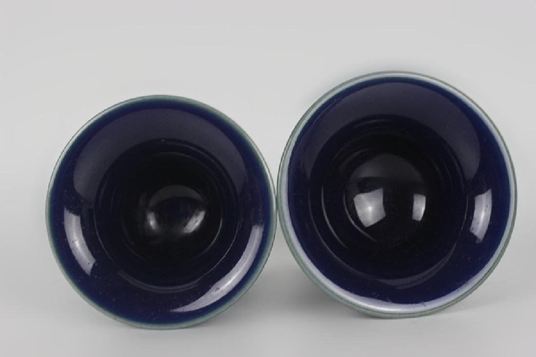 Pair of Chinese Porcelain Cobalt Vases, Signed - 5
