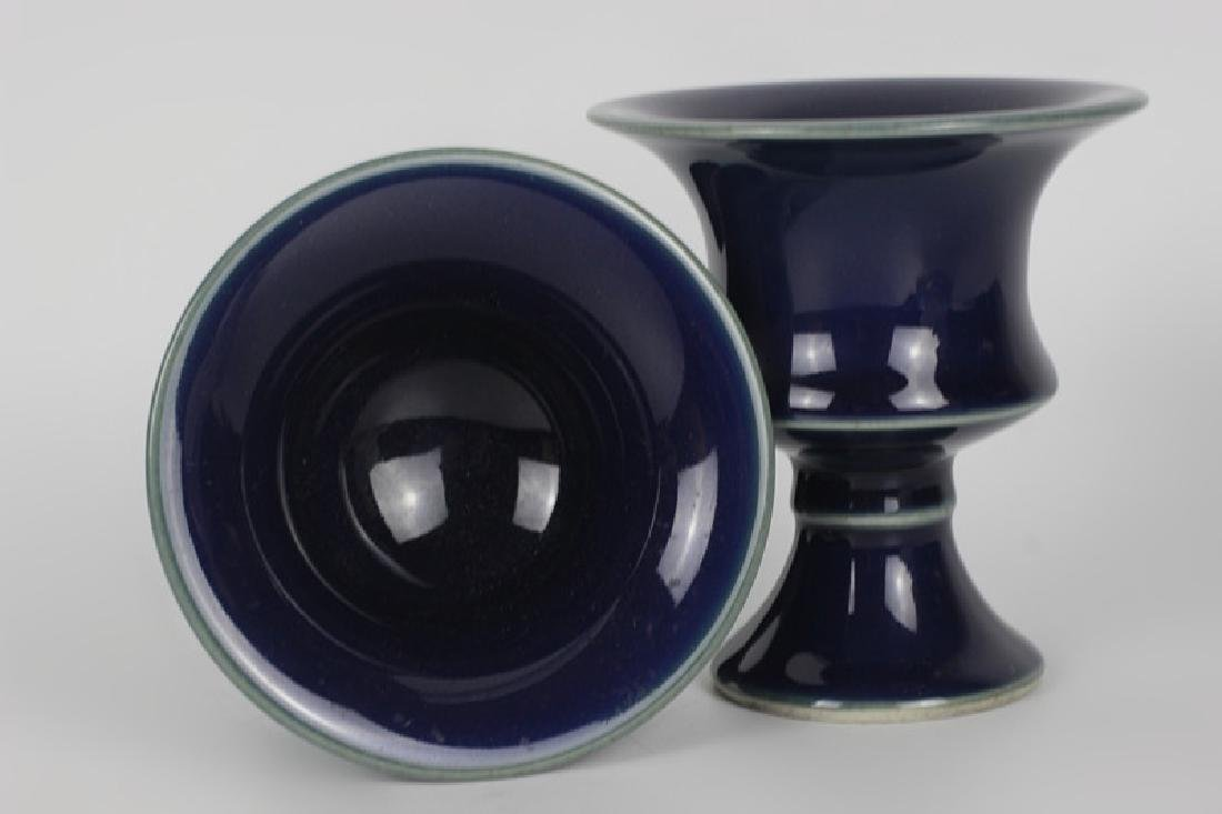 Pair of Chinese Porcelain Cobalt Vases, Signed - 7