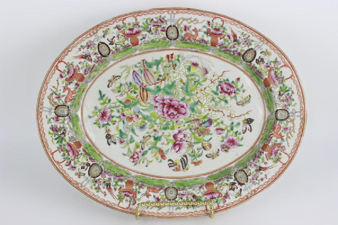 Chinese 19thc Porcelain Export Oval Enamel Plate