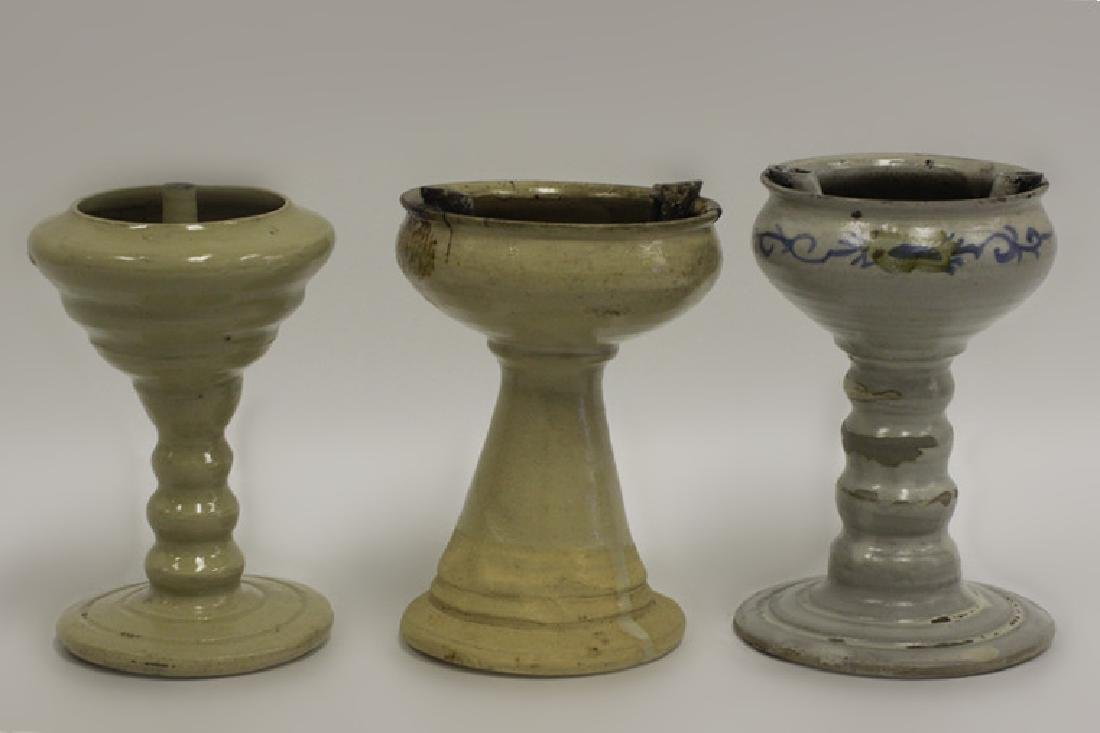 3 Old Middle Eastern Pottery Oil Lamps