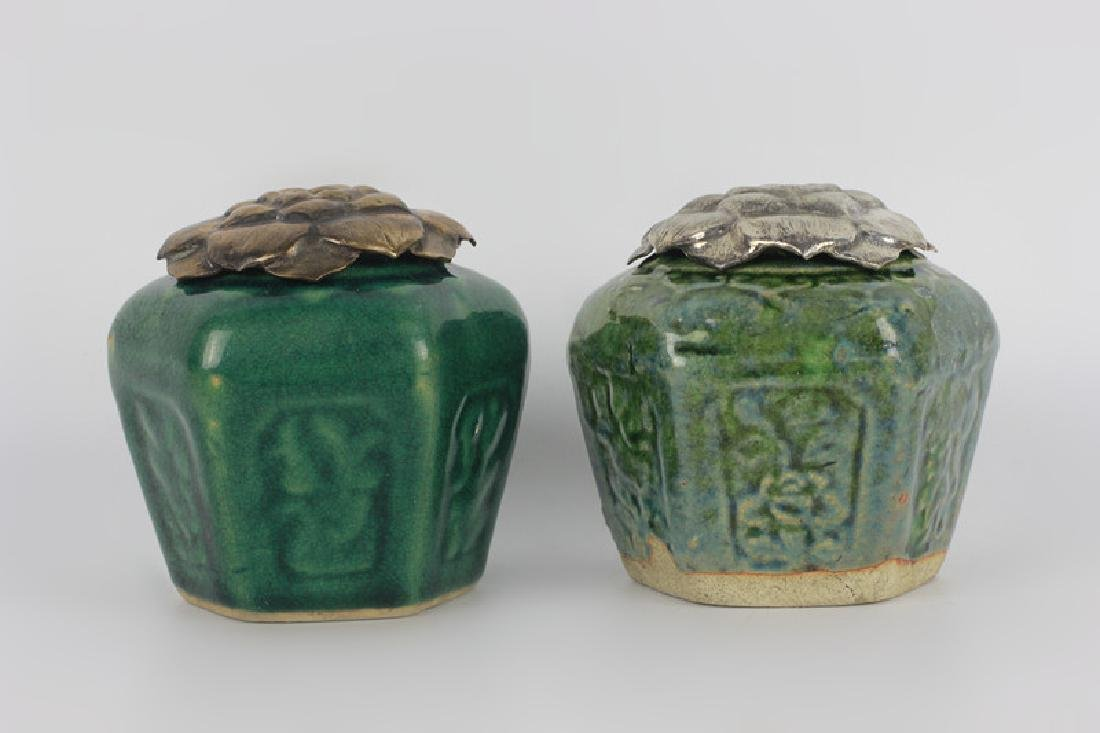 2 19thc Chinese Pottery Green Jars