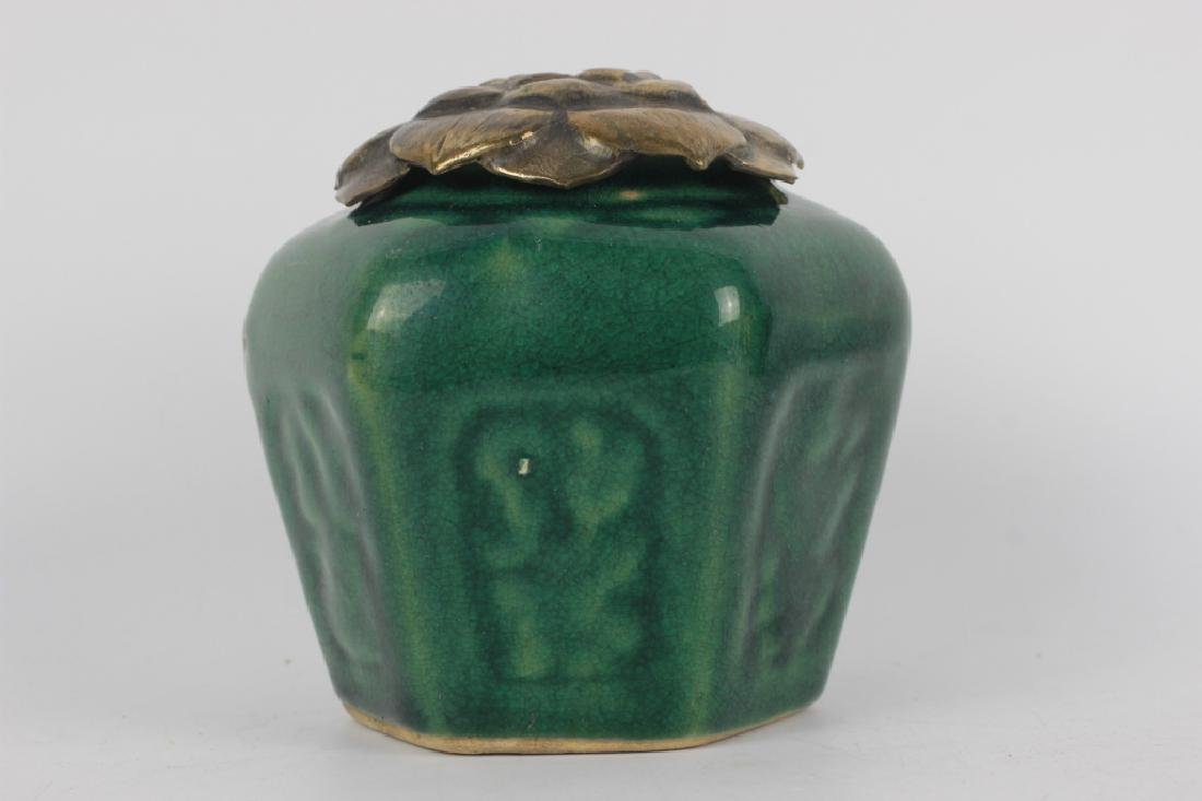 2 19thc Chinese Pottery Green Jars - 4