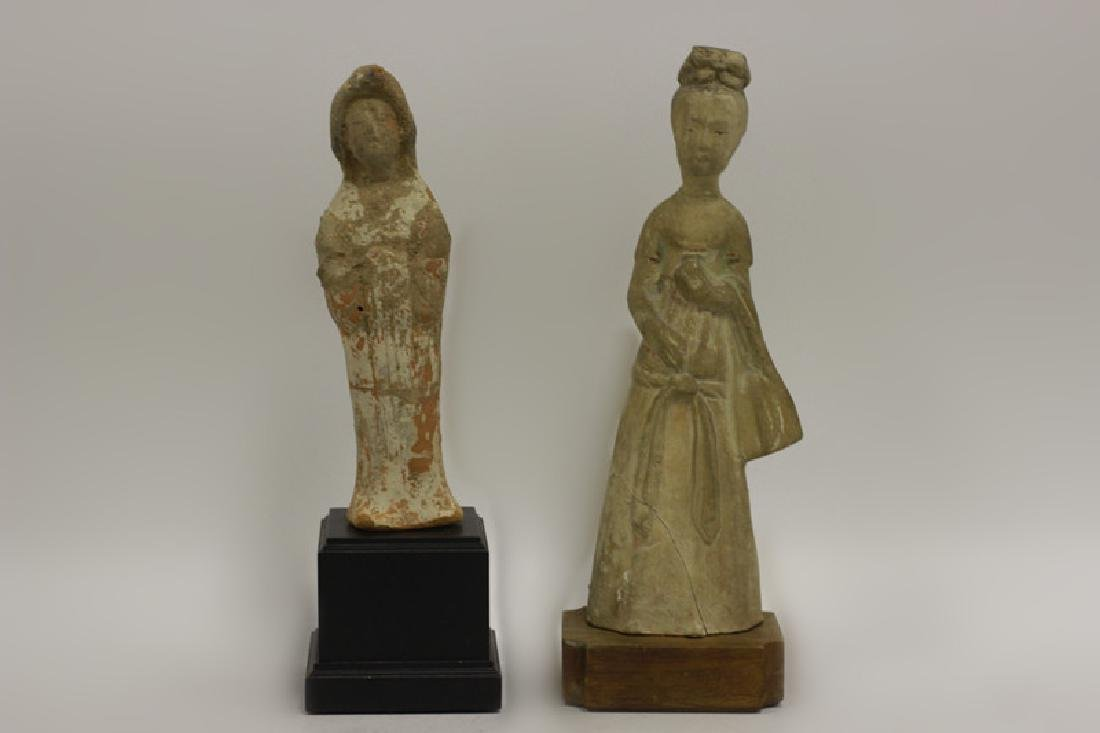 2 Chinese Tang Dynasty Mud Figures on Wood Stands