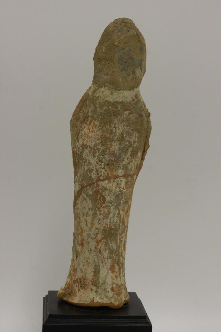 2 Chinese Tang Dynasty Mud Figures on Wood Stands - 3