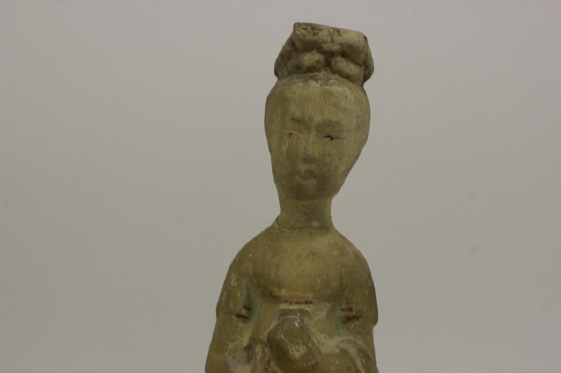 2 Chinese Tang Dynasty Mud Figures on Wood Stands - 8