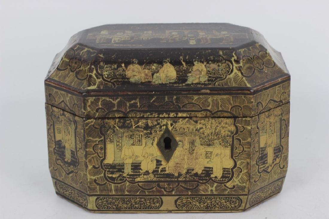Antique Chinese Gilded Papier Mache Tea Caddy