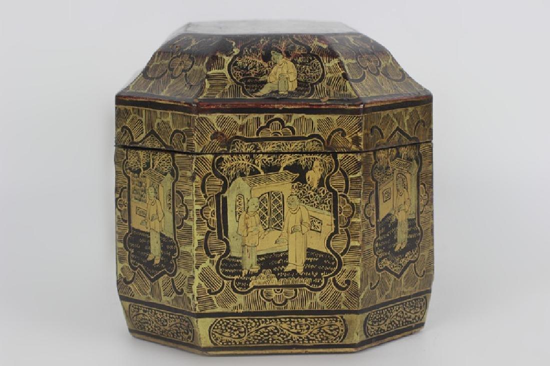 Antique Chinese Gilded Papier Mache Tea Caddy - 2