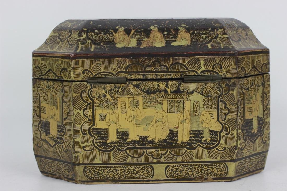 Antique Chinese Gilded Papier Mache Tea Caddy - 3