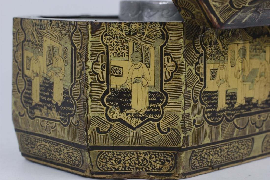 Antique Chinese Gilded Papier Mache Tea Caddy - 4