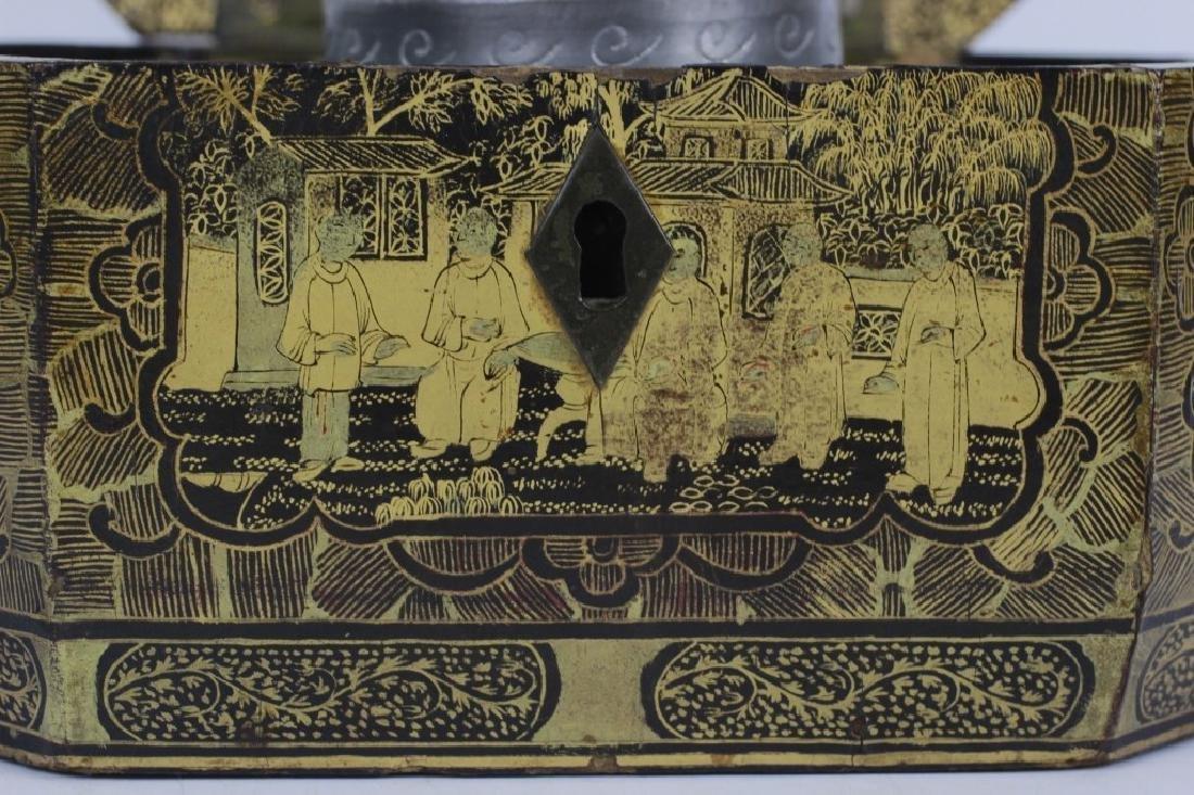 Antique Chinese Gilded Papier Mache Tea Caddy - 5