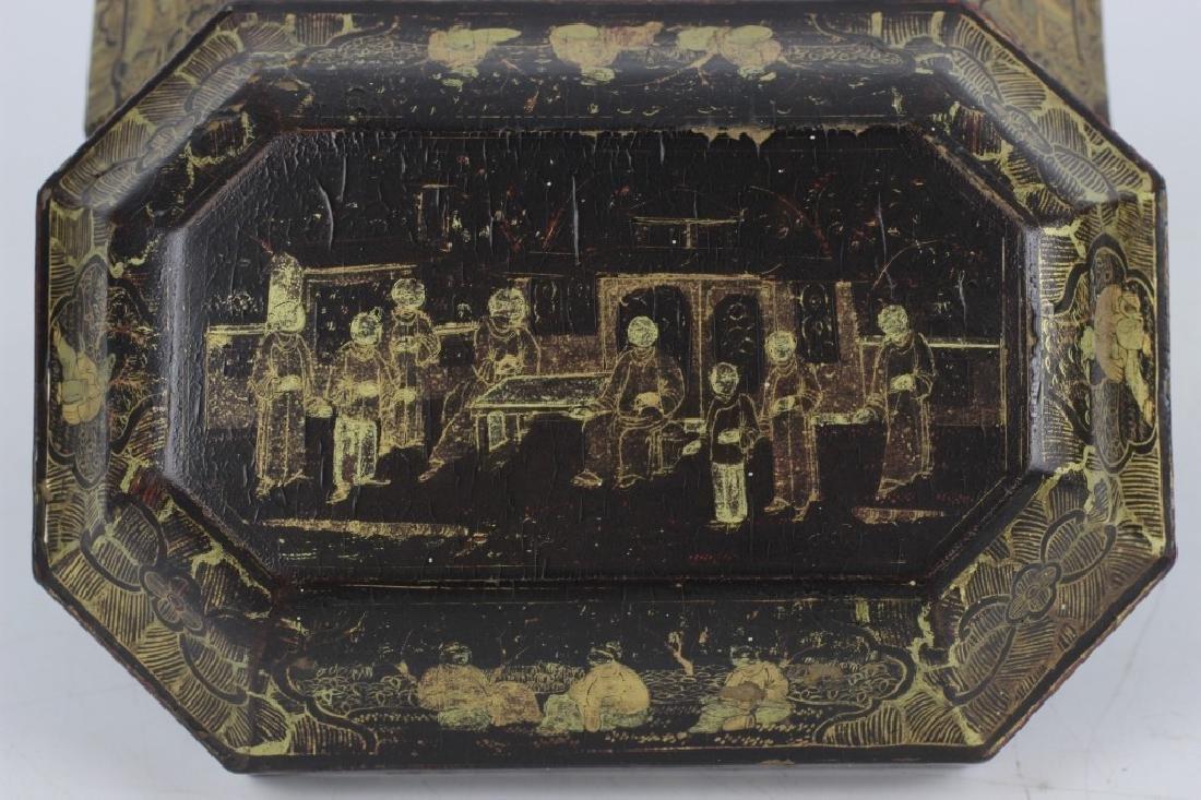 Antique Chinese Gilded Papier Mache Tea Caddy - 6