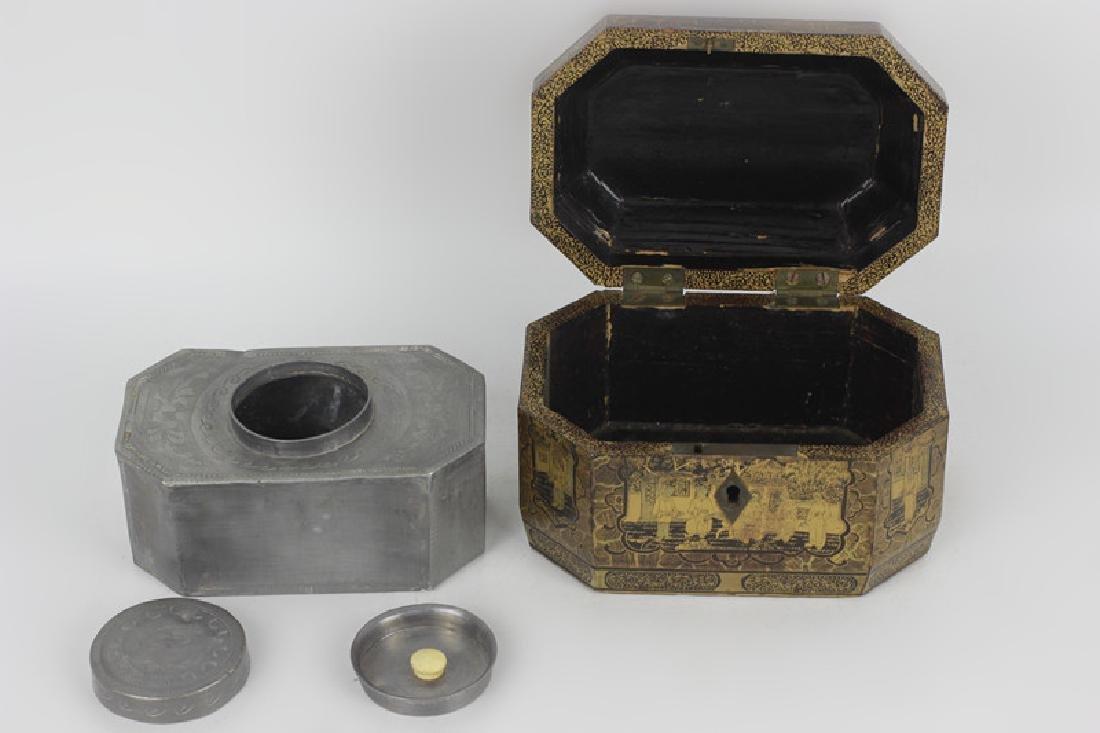 Antique Chinese Gilded Papier Mache Tea Caddy - 7