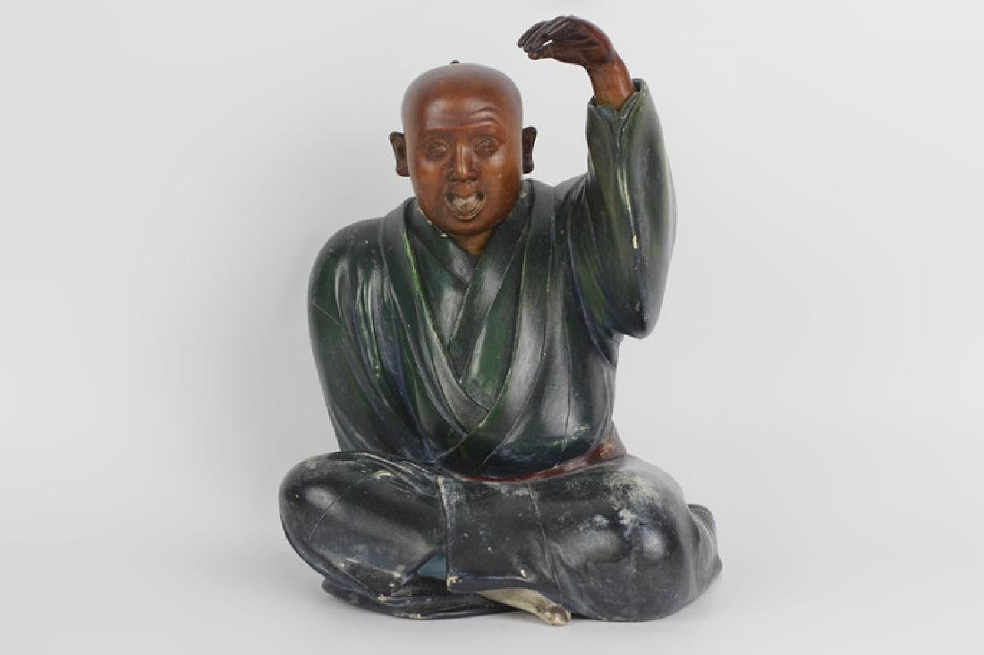 19thc Japanese Wood Painted Carving of Seated Man