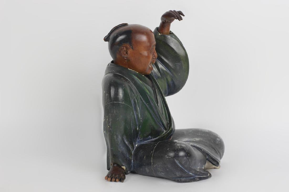19thc Japanese Wood Painted Carving of Seated Man - 3