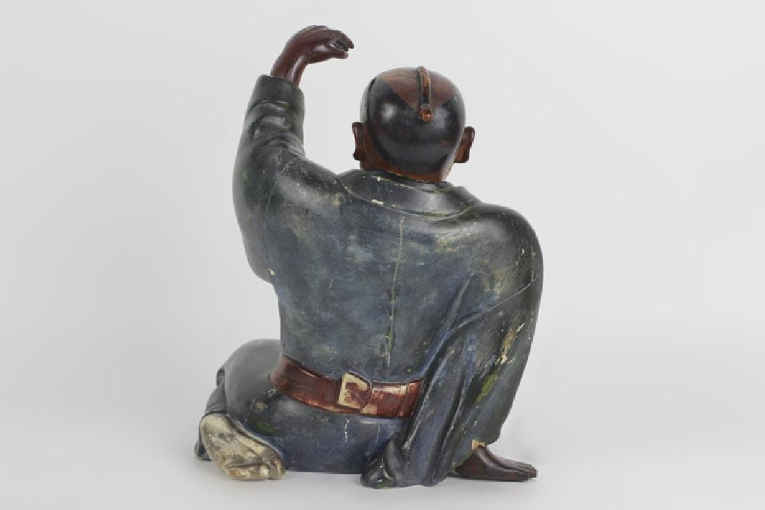 19thc Japanese Wood Painted Carving of Seated Man - 4