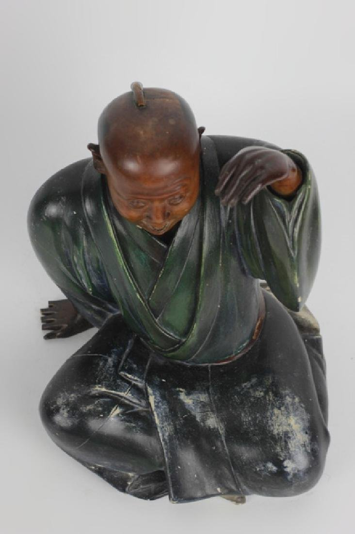 19thc Japanese Wood Painted Carving of Seated Man - 8