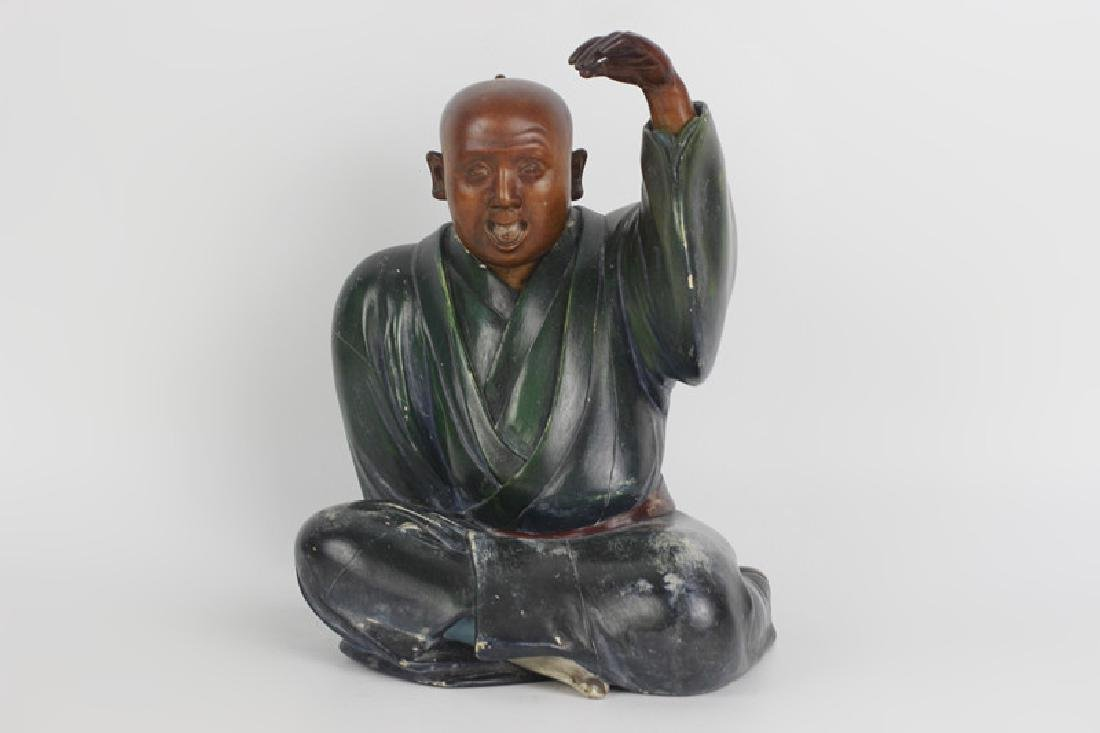 19thc Japanese Wood Painted Carving of Seated Man - 9