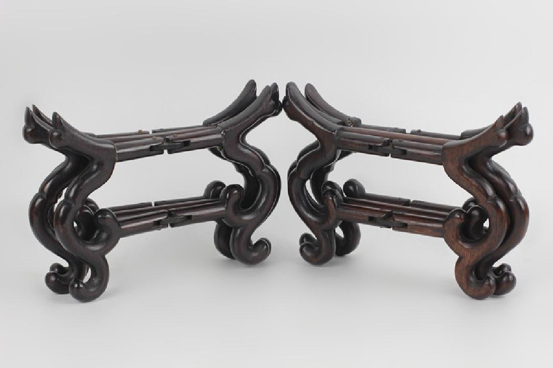 Chinese Pair of Old Mechanical Wood Bowl Stands