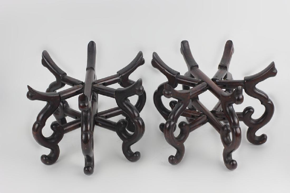 Chinese Pair of Old Mechanical Wood Bowl Stands - 2