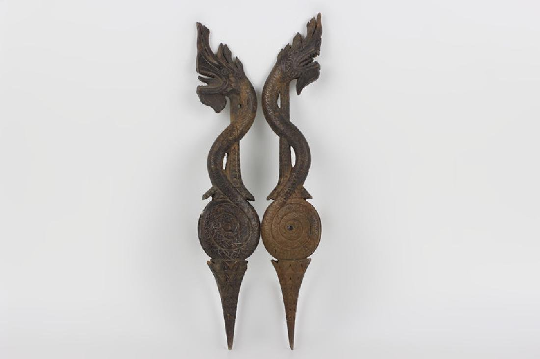 Pair of 19thc Thai Wooden Pulley's