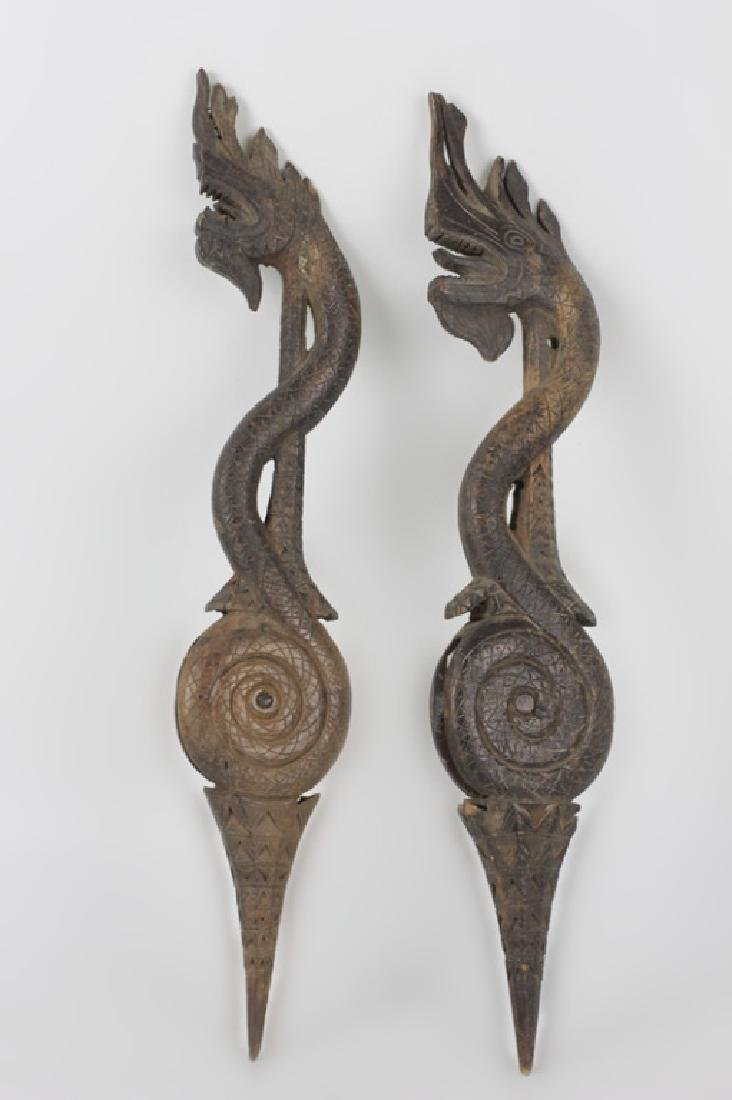 Pair of 19thc Thai Wooden Pulley's - 3