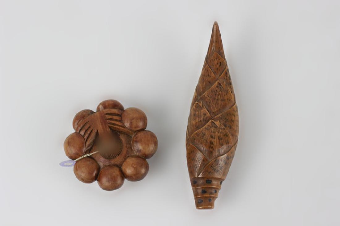 2 19thc Japanese Wood Netsuke Carvings