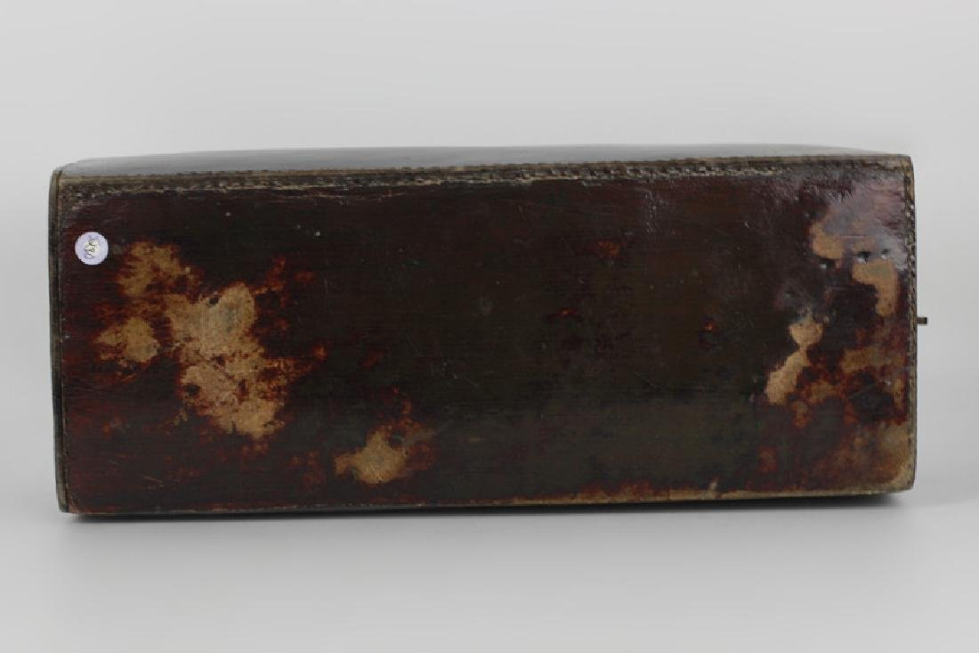 19thc Chinese Leather Pillow Box - 5