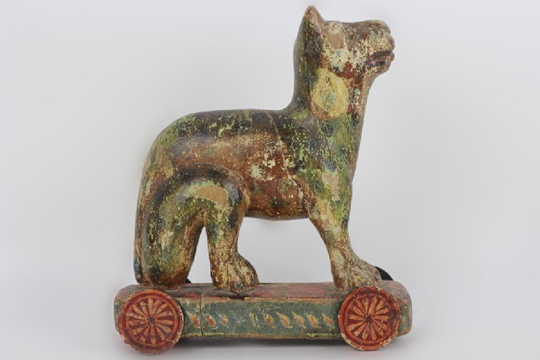 18thc/19thc Indian Carved Wood Painted Toy Dog