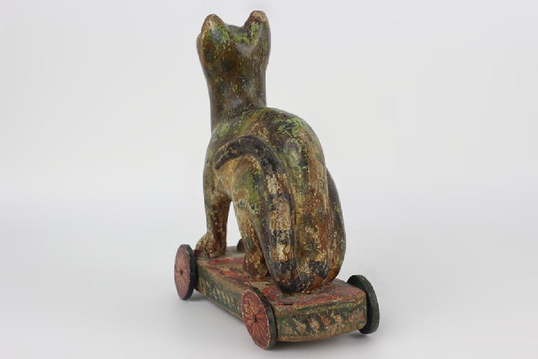 18thc/19thc Indian Carved Wood Painted Toy Dog - 5