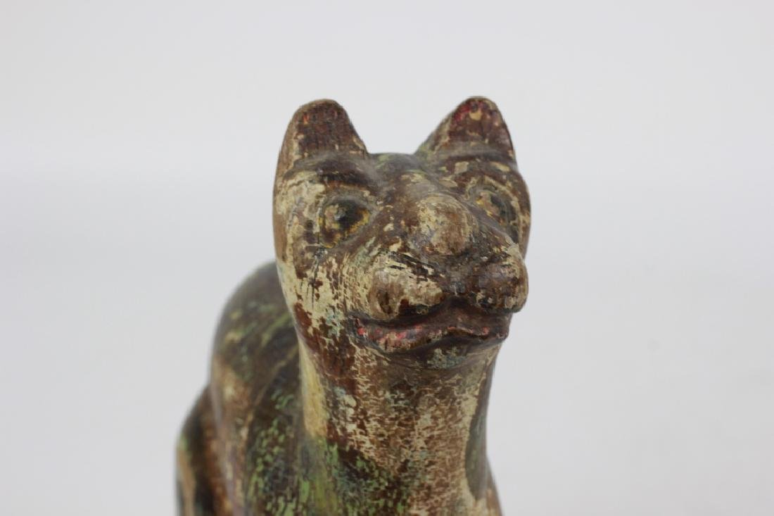 18thc/19thc Indian Carved Wood Painted Toy Dog - 7